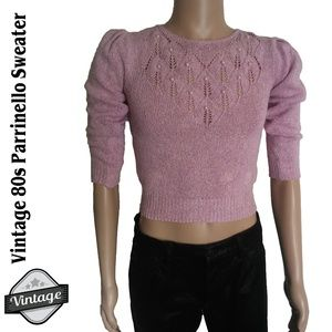VTG 80s Pink Knit Faux Pearl Silk Cropped Sweater
